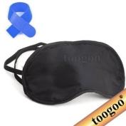 TOOGOO(R) 100% Silk Eye Mask/Sleep Mask with Silk Floss Filling-Black +Free Cable Tie