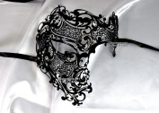Men Black Phantom Skull Laser Cut Venetian Masquerade Mask with Rhinestones Event Party Ball Mardi Gars