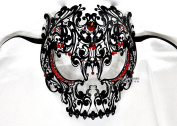 Men Devil Skull Laser Cut Venetian Masquerade Mask with Red Rhinestones Event Party Ball Mardi Gars