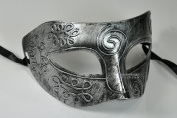 Silver Antique Greek Roman Warrior Men Venetian Mardi Gras Party Masquerade Mask - Event Party Ball Mardi Gars