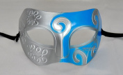 Silver Blue Antique Greek Roman Warrior Men Venetian Mardi Gras Party Masquerade Mask - Event Party Ball Mardi Gars