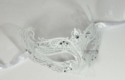 White Young Queen Laser Cut Venetian Masquerade Mask with Rhinestones Event Party Ball Mardi Gars