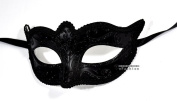 Black Anonymous Black Laser Cut Venetian Masquerade Mask - Event Party Ball Mardi Gars
