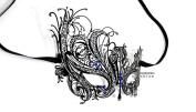 Black Swan Laser Cut Venetian Masquerade Mask with Blue Rhinestones Event Party Ball Mardi Gars