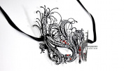 Black Swan Laser Cut Venetian Masquerade Mask with Red Rhinestones Event Party Ball Mardi Gars