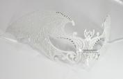 Devil Bat White Laser Cut Venetian Masquerade Mask with Rhinestones Event Party Ball Mardi Gars