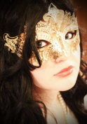Gold Crown Laser Cut Venetian Masquerade Mask with Rhinestones Event Party Ball Mardi Gars