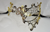 Gold Metal Phantom Laser Cut Venetian Masquerade Mask with Rhinestones Event Party Ball Mardi Gars