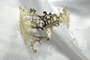 Gold Phantom Laser Cut Venetian Masquerade Mask with Rhinestones Event Party Ball Mardi Gars