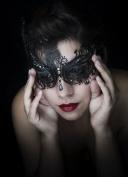 Lady Black Swan Laser Cut Venetian Masquerade Mask with Rhinestones Event Party Ball Mardi Gars