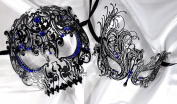 Lovers Collection Men Women Couple Blue BL4 Combo Cut Venetian Masquerade Mask Event Party Ball Mardi Gars