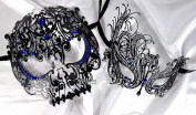 Lovers Collection Men Women Couple Blue BL4 Combo Cut Venetian Masquerade Mask Event Party Ball Mardi Gars