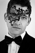 Men Black Phantom Laser Cut Venetian Masquerade Mask with Rhinestones Event Party Ball Mardi Gars