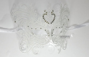 Men Women Unisex White Master Fly Laser Cut Venetian Masquerade Mask with Rhinestones Event Party Ball Mardi Gars