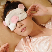 Mssilk Silk Sleep Eye Mask Lovely Flying Pigs and Adjustable Band - 100% Pure Silk