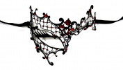 Phantom Black Laser Cut Venetian Masquerade Mask with Red Rhinestones - Filigree Metal Design