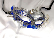 Silver Blue xCrown Laser Cut Venetian Masquerade Mask with Rhinestones Event Party Ball Mardi Gars