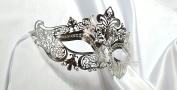 Silver Crown Laser Cut Venetian Masquerade Mask with Rhinestones Event Party Ball Mardi Gars