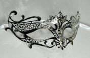 Silver Elegant Tiara Laser Cut Venetian Masquerade Mask with Rhinestones Event Party Ball Mardi Gars