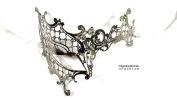 Silver Phantom Laser Cut Venetian Masquerade Mask with Rhinestones Event Party Ball Mardi Gars