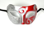 Silver Red Antique Greek Roman Warrior Men Venetian Mardi Gras Party Masquerade Mask