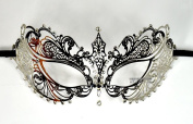 Silver Space Princess Laser Cut Venetian Masquerade Mask with Rhinestones Event Party Ball Mardi Gars