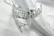 White Phantom Laser Cut Venetian Masquerade Mask with Rhinestones Event Party Ball Mardi Gars