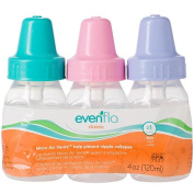 Evenflo Feeding Classic Twist + Vented 120ml Clear Bottle 3 Pack - Purple, Pink & Teal