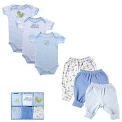 Luvable Friends Boys 6 Piece Little Dragon Grow with Me Gift Set with 3 Bodysuits and 3 Pants- 0-9 Months