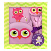 SOZO Girls 3 Piece Owl Welcome Home Gift Set with Flutter Sleeve Bodysuit, 3D Owl Hat, and Security Blanket- 0-3 Months