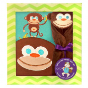 SOZO Boys 3 Piece Monkey Welcome Home Gift Set with Raglan Bodysuit, 3D Monkey Hat, and Security Blanket- 0-3 Months