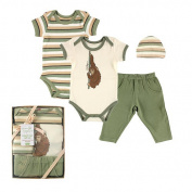 Hudson Baby Boys 4 Piece Monkey Organic Newborn Gift Set with 2 Short Sleeve Bodysuits, Pants, and Hat- 0-6 Months