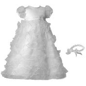Small World Girls Christening Baptism Multi Tiered Organza Dress With Satin Bodice and Matching Elastic Headband