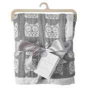 Living Textiles Muslin Jacquard Blanket - Grey Owl