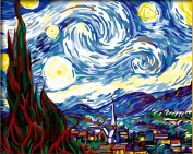 DiyOilPaintings Paint By Numbers Kits, Starry Night, Origin Paintings By Van Gogh Paint By Number Kits, 41cm x 50cm