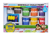 RoseArt Washable Sidewalk Chalk Paint, Big Super Set, 8 Colours, 2 Foam Brushes