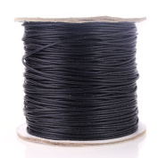 Beadnova 1mm Waxed Cotton Beading Cord Waxed String Wax Coating Cord 100 yards Roll Spool
