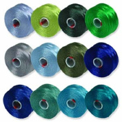 S-Lon Beading Thread Mixture 12 Colours Size D - Blues and Greens