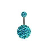 Enjoydeal Unisex Rhinestone Crystal Ball shaped Bar Ring Navel Belly Button for Body Piercing
