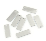 20 Stainless Steel Stamping Blanks Tags Rectangle Charm Pendants 21mmx9mm