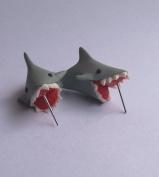 Handcraft Polymer Clay Cute Shark Biting Ears Stud Colour Grey