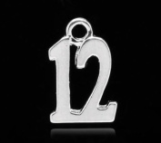 """Housweety 50 Silver Plated Number Age """"12"""" Charm Pendants 15x10mm"""