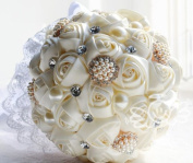 Qishi's DIY Roses Artificial White Bridal Wedding Bouquet