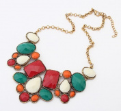Buyinhouse Exaggerated Coloured Gem Rhinestones Pendant with Long Chain Necklace