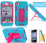Tradekmk(TM)Luxury Three-in-one Hybrid High Impact Rubber Hard Stand Case Cover Fit For Apple iPhone 4 4S(Blue+Rose Red),with Stylus,Screen Protector and Cleaning Cloth