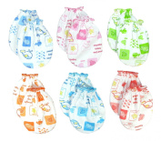 6 Pairs Mix colour Scratch Mittens Gloves Cotton Baby Newborn