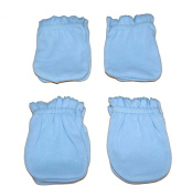 4 Pairs Cotton Newborn Baby/infant Boy No Scratch Mittens Gloves - Light Blue