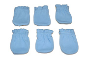 6 Pairs Cotton Newborn Baby/infant Boy No Scratch Mittens Gloves - Light Blue