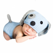 Melondipity Baby Blue and Grey Puppy Hat and Nappy Cover SET for Newborn Boys