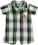 US Polo Assn Infant Boys Plaid White, Navy & Green Shortall